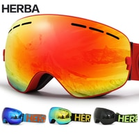 New HERBA brand ski goggles Double Lens UV400 Anti-fog Adult Snowboard Skiing Glasses Women Men Snow Eyewear
