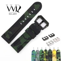 rolamy 22 24mm camo black dark green waterproof silicone rubber replacement wrist watch band strap loops for panerai luminor