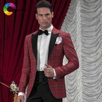 red square pattern men suits evening party blazer tailored made slim fit formal tuxedo best man prom 2018 costume homme 2 pieces