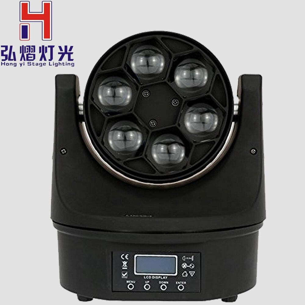 6X15W Ojo de abeja Mini iluminación con cabeza giratoria 11/14 DMX canales RGBW escenario DMX para DJ lámpara estroboscópica mostrar parte sonido Color música
