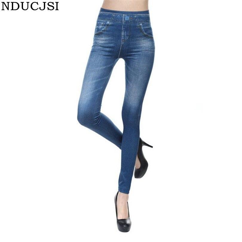 NDUCJSI vaquero de imitación mallas de tejido vaquero para mujer pantalones de cintura alta con bolsillo cachemir Slim Fitness Leggings pantalones de talla grande