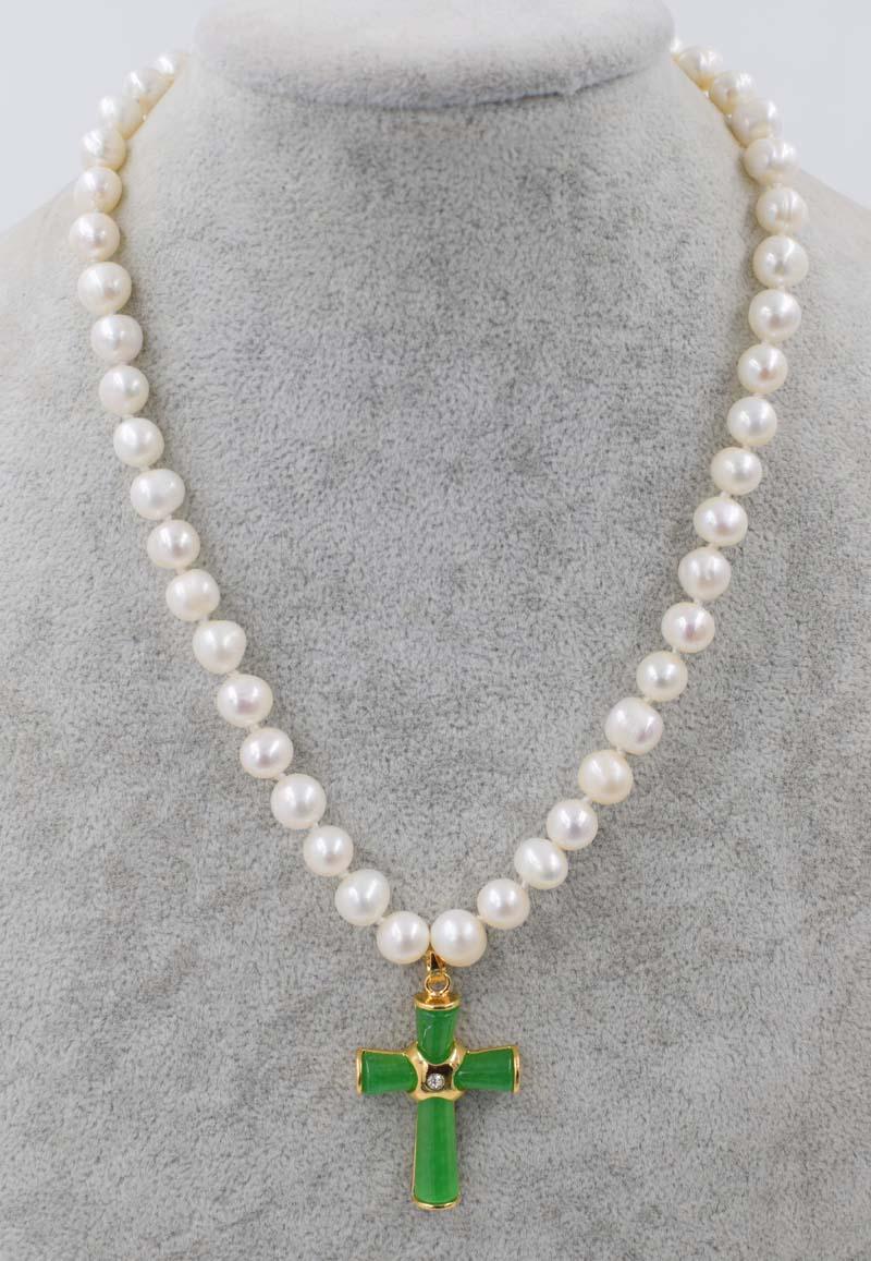 """¡Wow! Collar redondo de perlas de agua dulce 8-9mm + colgante de Cruz Verde jades 18 """"cuentas naturales FPPJ al por mayor"""