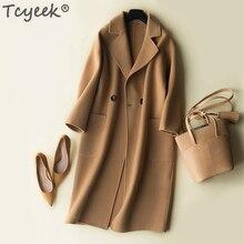 Tcyeek automne hiver manteau femmes 100% laine manteau femme longues vestes coréen printemps face laine vêtements noir pardessus LWL1324