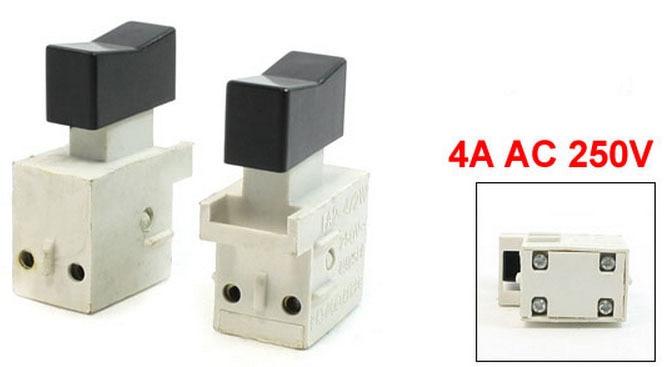 10 Uds botón pulsador DPST interruptor AC 250V 4A para herramienta eléctrica