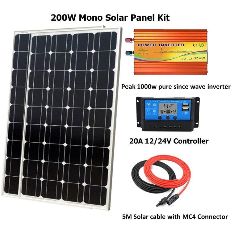 مجموعة الألواح الشمسية أحادية اللون ، 200 واط ، 1000 واط ، عاكس الموجة النقية ، 200 واط ، وحدة تحكم PWM 20A LCD ، نظام خارج الشبكة