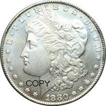 Pièces de monnaie en argent plaqué Morgan   Pièce de monnaie Cupronickel non liée, 1880 CC, pièces de copie dun Dollar