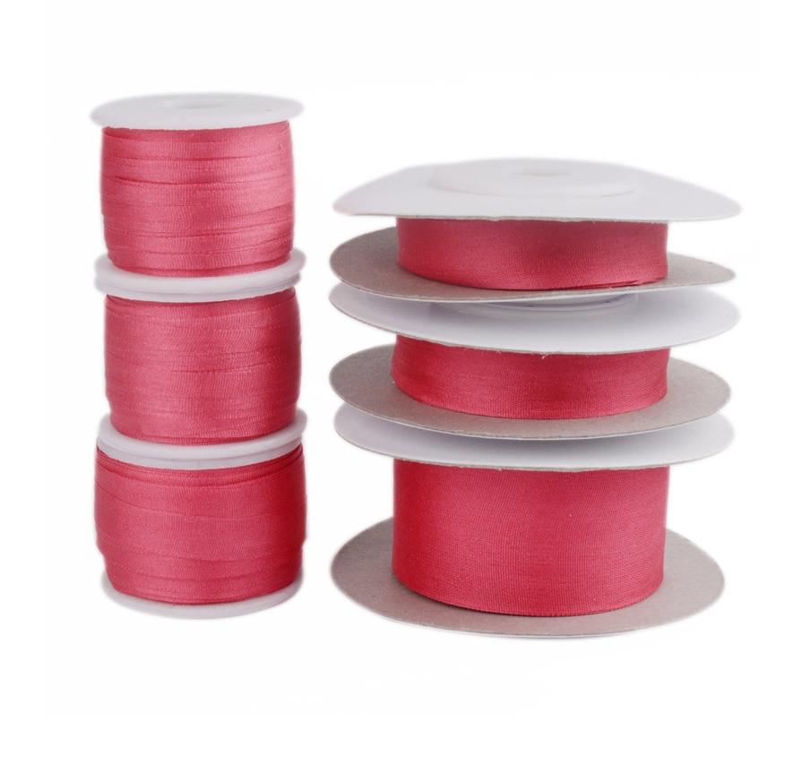 221 rojo 100% cinta de seda pura para bordado artesanal, cinta de seda tafetán de doble cara 2/4/7/10/13/25mm, 10/30/100m pk