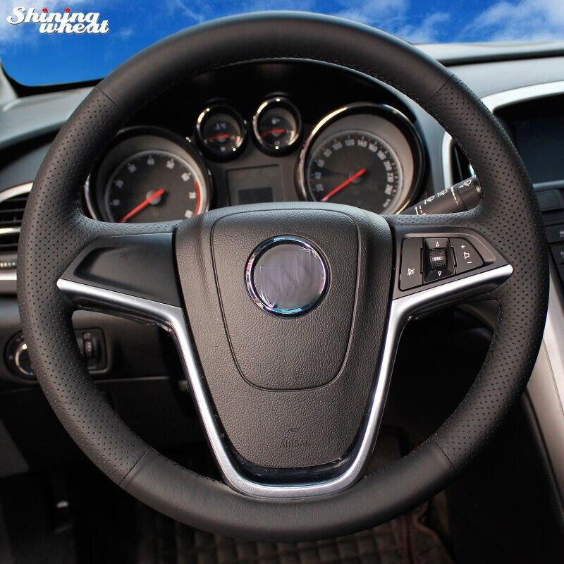 Brillante de trigo-negro de punto de cuero protector para volante de coche para Buick Excelle XT GT Encore Opel Mokka