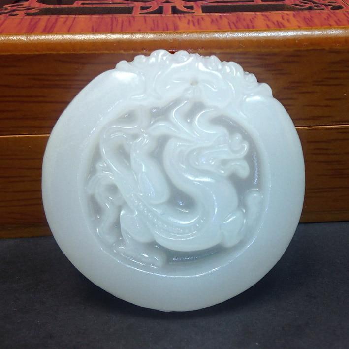 Colgante de Dragón de Jade blanco natural genuino, colgante de dragón retro redondo de Jade de Afganistán