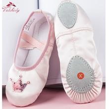 Chaussures de Ballet en Satin danse chaussures de Ballet plates avec des paillettes pour les filles couronne papillon décoration de bonne qualité
