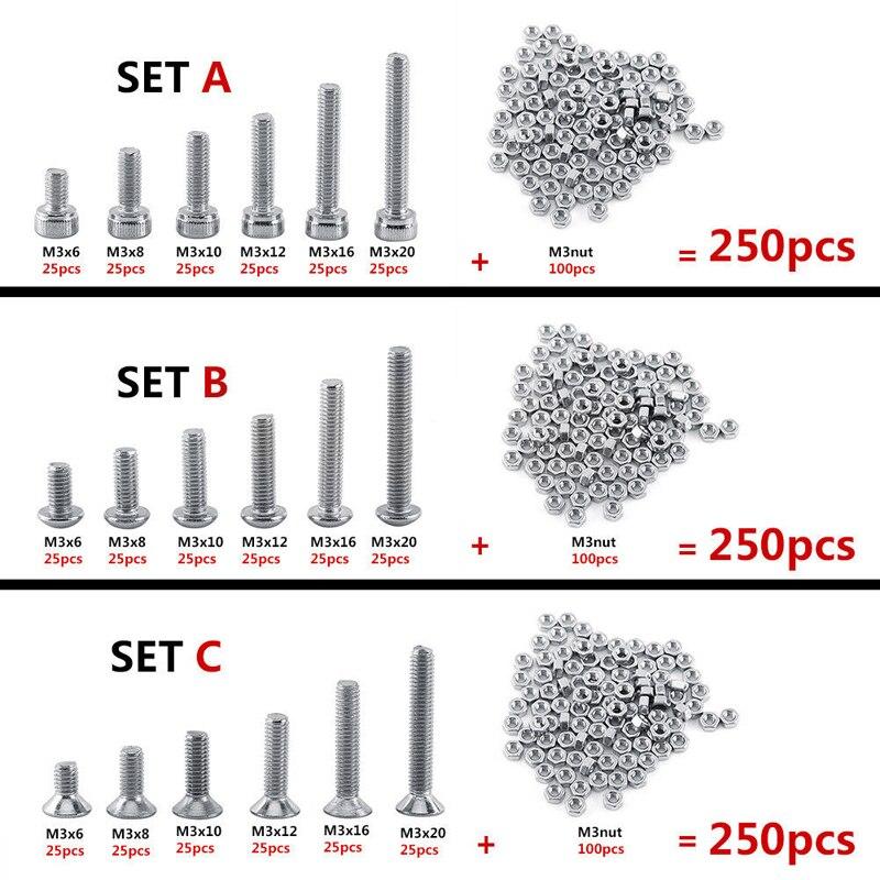 250 יחידותסט A2 נירוסטה M3 כובע/כפתור/שטוח ראש ברגי סטים Hex Socket בורג עם Hex אגוזים מבחר ערכת Mayitr