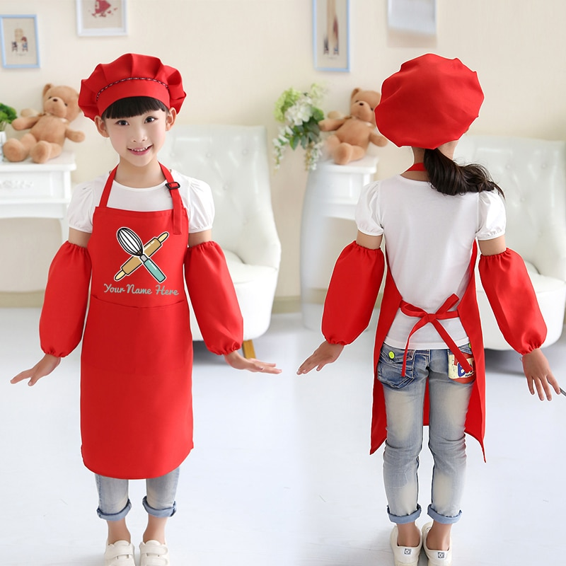 Kids drawing apron chef cute children's cooking baking class antifouling art painting clothes logo print enlarge