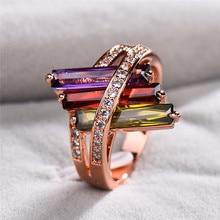 Boho femelle violet rouge Olive vert anneau mignon Rose or cristal arc-en-ciel Zircon pierre anneau promesse bagues de fiançailles pour les femmes