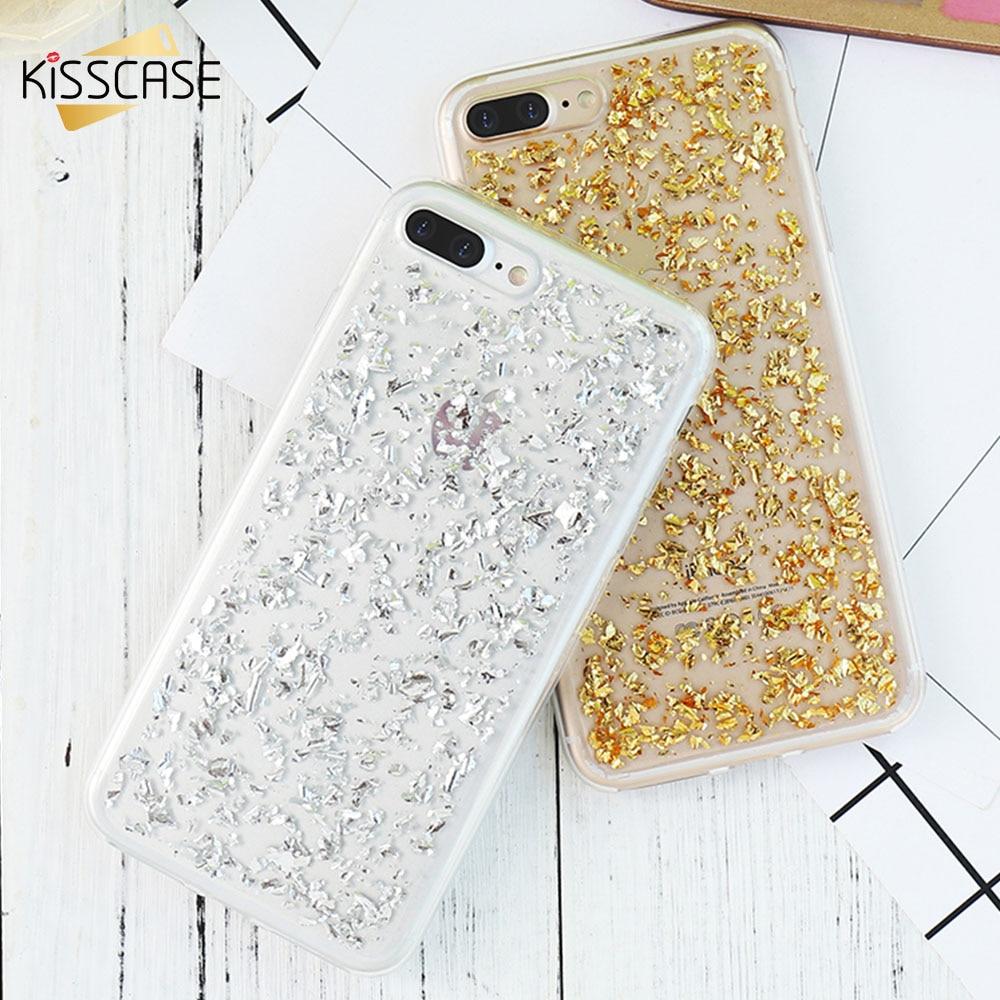 Kisscase New чехол для iPhone X 6 6S 7 8 Plus 5 5S SE Bling блестка золотые блестки мягкая Вернуться ТПУ чехол для iPhone 6 6 S 7 Plus 8 X 5 5S Золотая фольга TPU чехол на айфон...