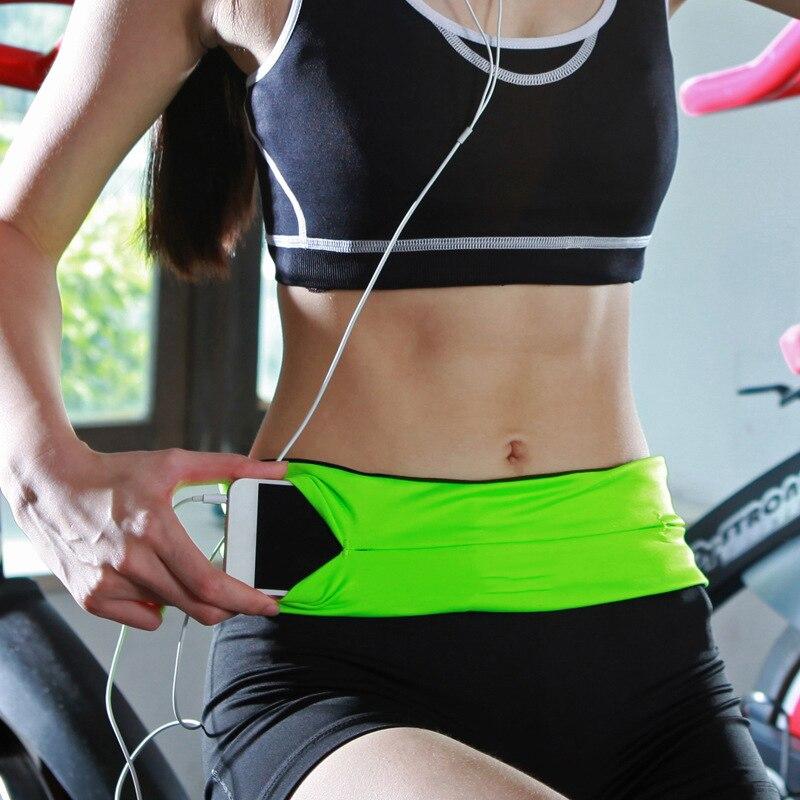Profesional riñonera para correr de las mujeres de los hombres Verde Negro deportes gimnasio bolsa rastro Invisible teléfono móvil dinero Correa Fanny Pack