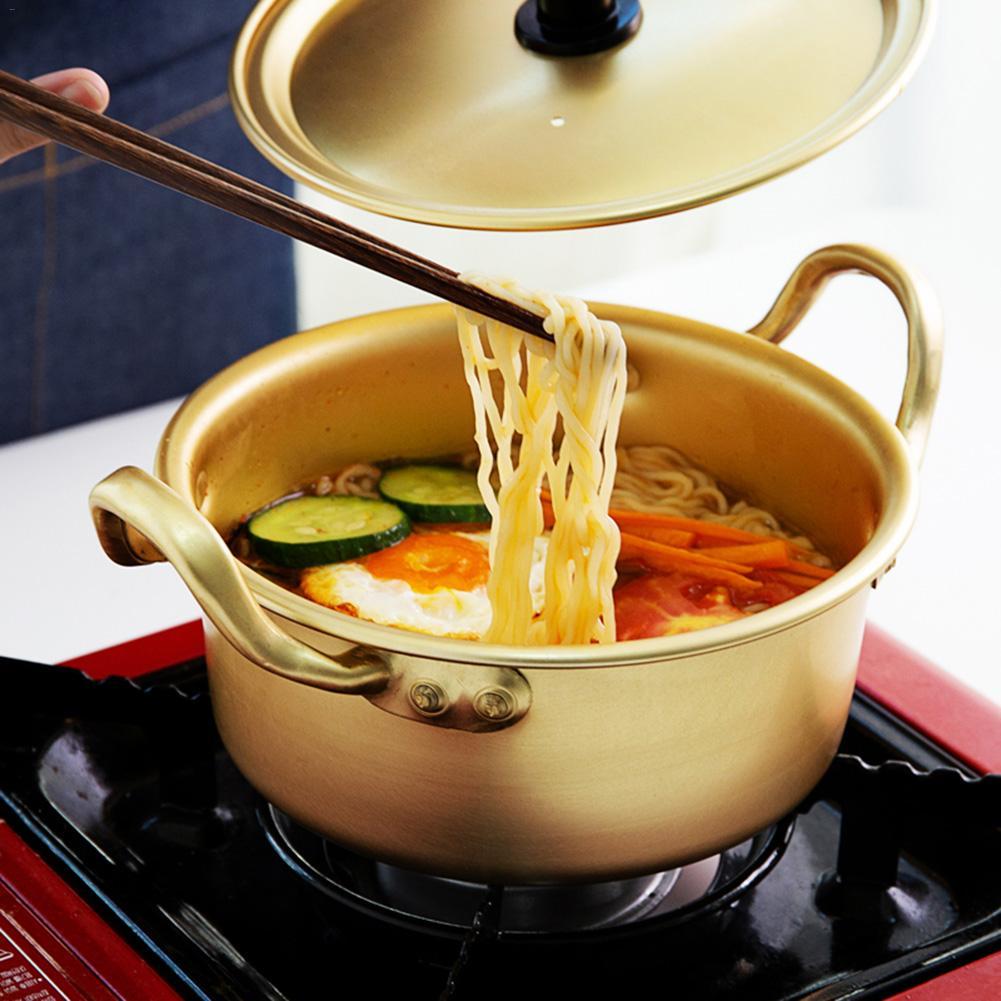 Tallarines coreanos para ramen olla sopera de aluminio amarillo utensilios de cocina multiusos antiadherentes utensilios de cocina