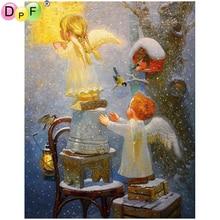 DPF DIY iki cherubs 5D elmas boyama çapraz dikiş el sanatları elmas nakış duvar tablosu kare elmas mozaik ev dekor