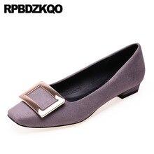 suede black 2018 women square toe ladies chinese footwear low heel spring autumn grey korean latest designer shoes china slip on
