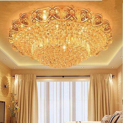 LED 31W-40W 60*60cm Modern Simple Atmospheric Golden Orb Sitting Room Bedroom Crystal Engineering Ceiling Lights 110-240V