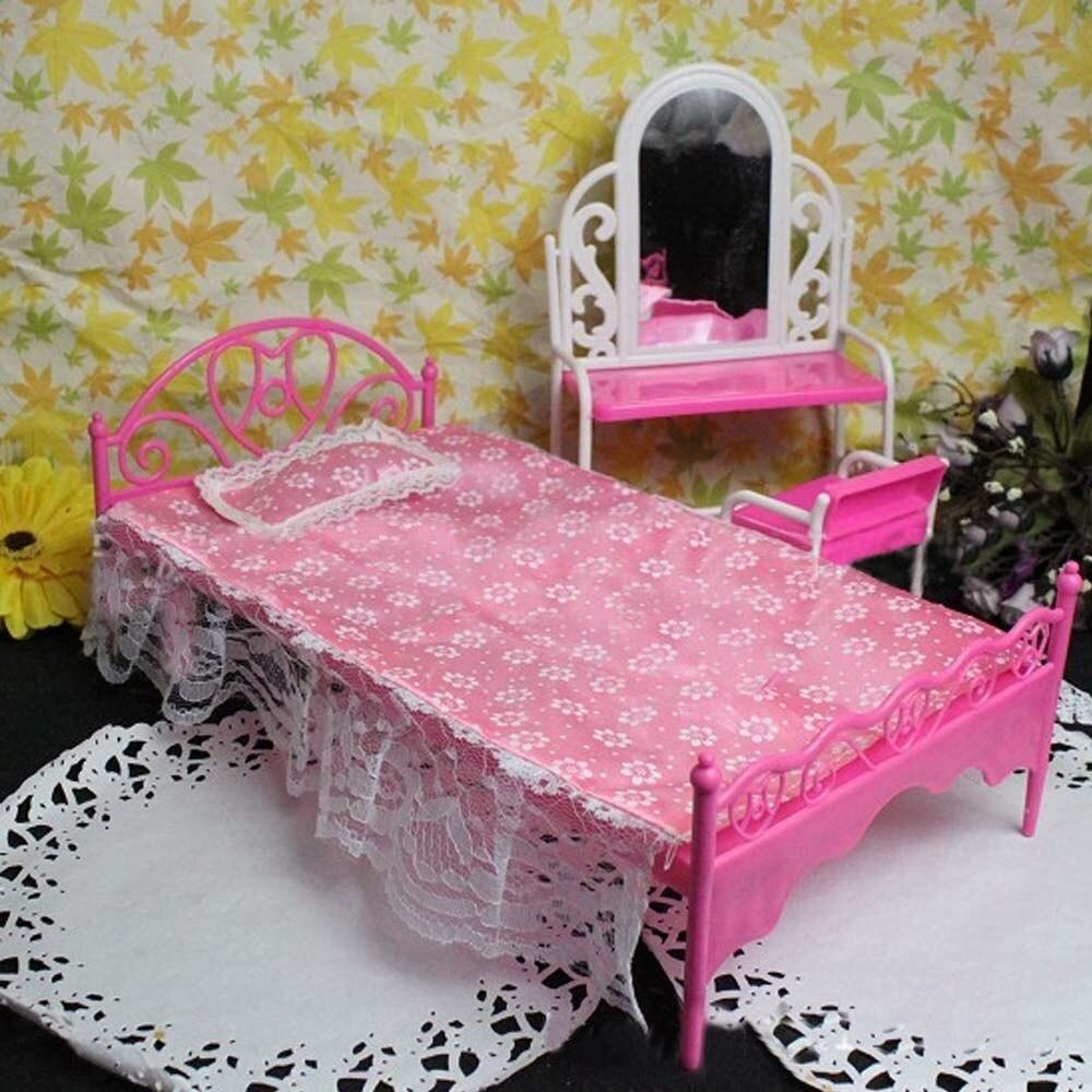 Travesseiro de lençol para crianças, boneco rosa divertido, acessórios de móveis para barbie, menina, brinquedo
