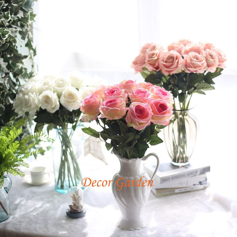 13Colors Fake Artificial Silk Rose Flowers For DIY Wedding Flower Bouquet Floral Home Decoratiive