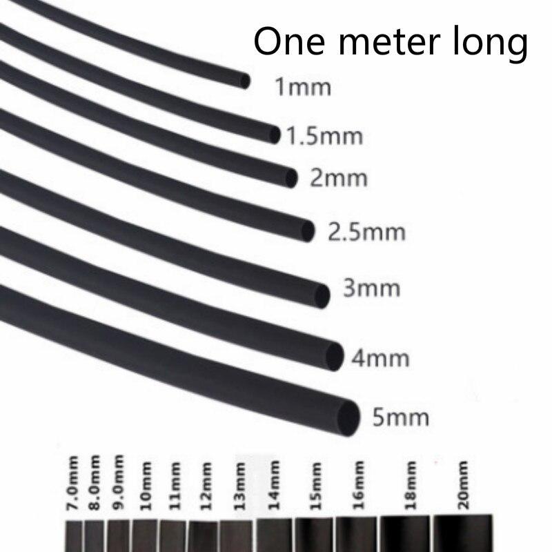 Круглый диаметр 13 мм/14 мм/15 мм/16 мм/18 мм/20 мм/22 мм/25 мм длина 1 м термоусадочная трубка черная проволочная пленка