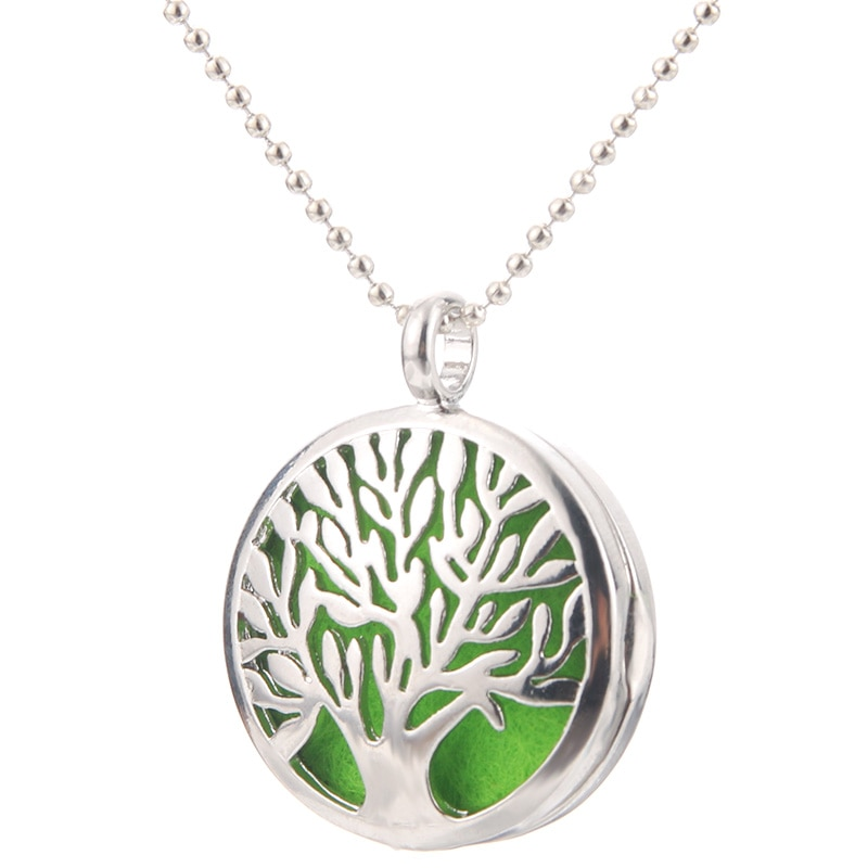 Beautiful Tree Of Life Aromatherapy Essential Oil Diffuser Necklace Fashion Perfume Locket Pendant C