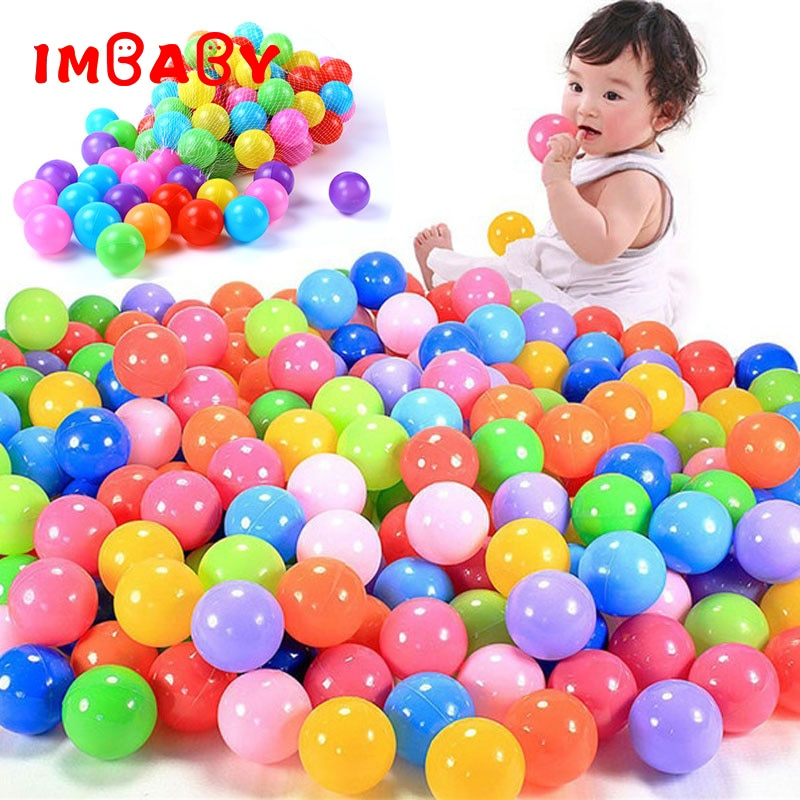 100/200 Uds. Bolas de 5,5 cm bolas de piscina pelota de plástico suave para Parque de juego colorido estrés suave aire malabares bolas sensorial bebé juguete