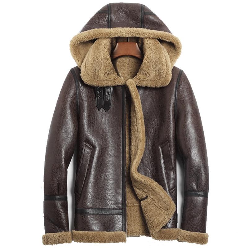 Denny&Dora Hooded Brown Shearling Jacket Mens Aviator b3 Sheepskin Jacket