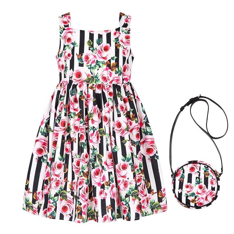 Vestido de verano para niñas 2018 sin mangas para bebé o niña vestido de princesa con bolsa túnica Ceremonie Fille impreso vestidos de cumpleaños para niños