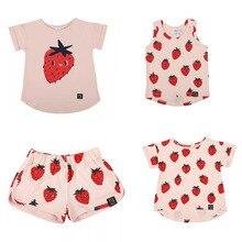 EnkeliBB T-shirt pour bébés garçons/filles   Vêtements dété de marque Design, pologne, Ins, promo, motif de fraises, pour enfants