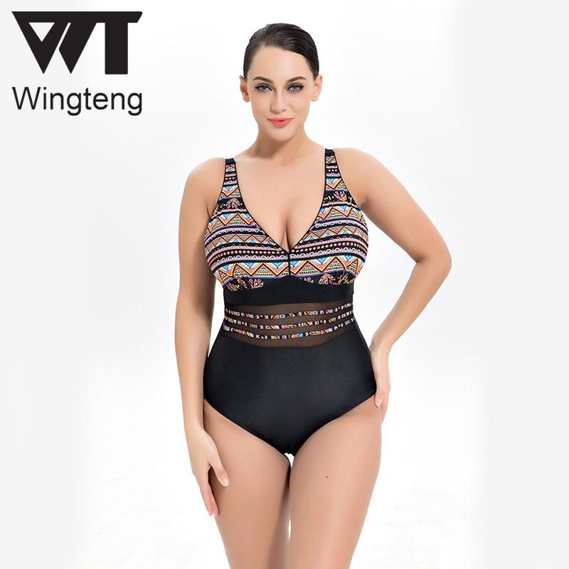 Wingteng Big size 10XL Retro One Piece Swimwear Female plus size 8XL Swimsuit Fused push up Bikini Set Large Cup Bathing Suits