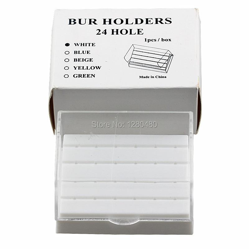Dental Equipment 24 Holes Plastic Holder Burs Block Holder White Case Dentist Products