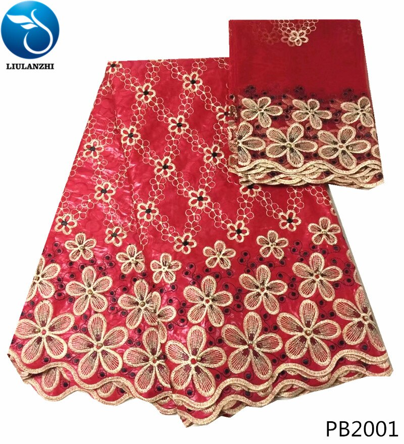 Beautifical vermelho bazin riche tecido 2019 africano riche getzner alta qualidade vestido nigeriano tecido de renda 5 + 2 jardas/conjunto online pb20