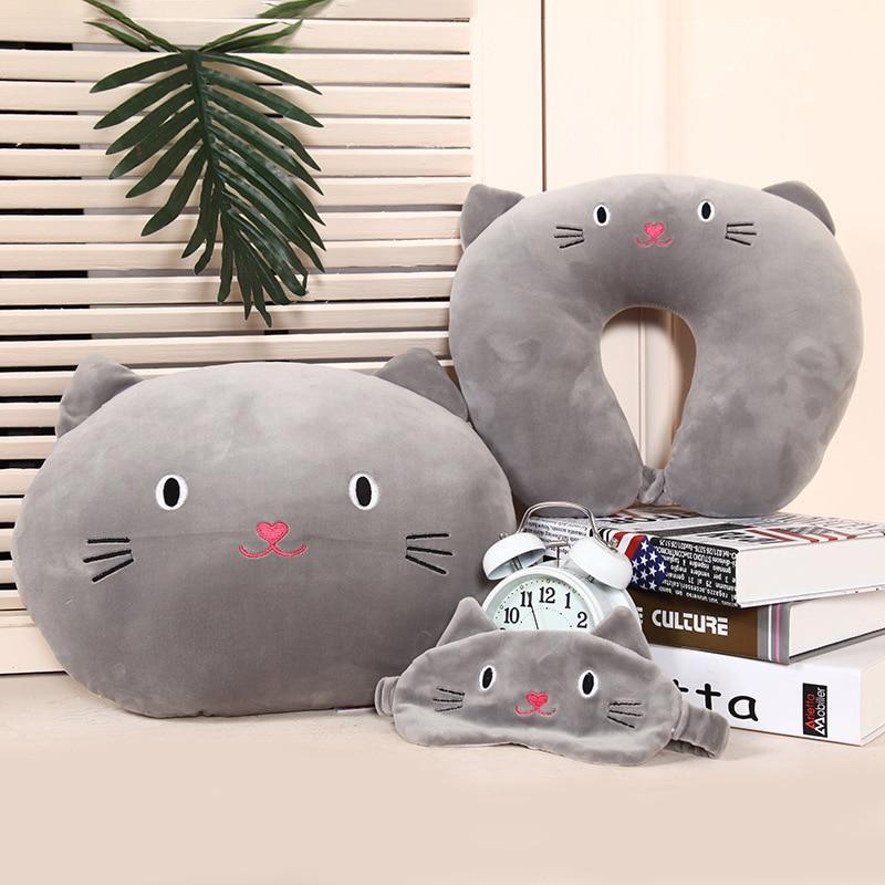 Cute Cat Pattern Travel Pillow with Eye Mask Cartoon U Type  Pillow Cotton Neck Care Flight Car Pillow Airplane Office Nap