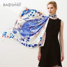 [Baoshidi] 2018 새로운 도착, 16 미터식 번수 100% 실크 새틴 스카프, 패션 스퀘어 스카프 여성 플로랄 디자인 인피니티 숄, 크리스마스 선물