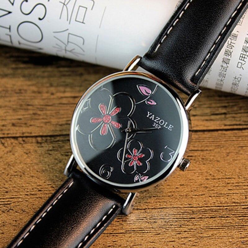 Женские Цветочные Кварцевые часы Yazole, кварцевые наручные часы с цветком сливы, подарок на Рождество, 2019