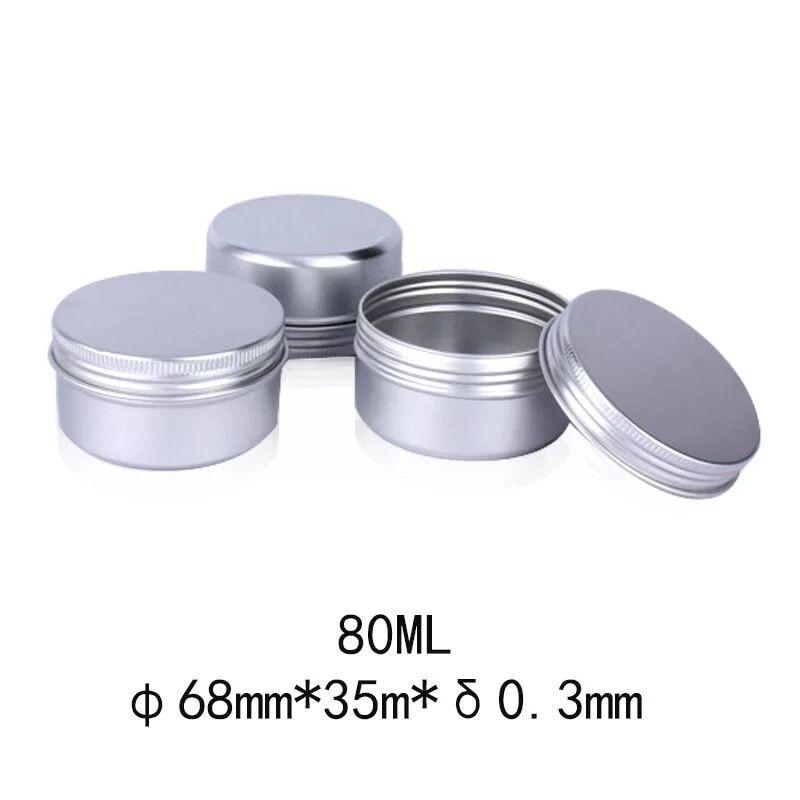 68*35mm 80ml frascos de crema de Metal caliente con tapa de tornillo lata de plata contenedor botella puede olla velas latas caja de contenedor vacía mkeup caso