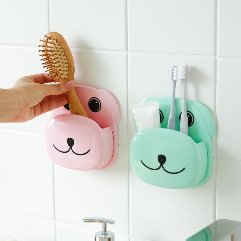Brosse à succion en PP 21.5*12.5 cm 13*14 cm 1 pièce   Porte-brosse à dents, motif chien Panda porte-dentifrice peigne, boîte de rangement, organisateur salle de bain