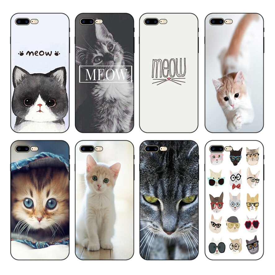 Funda de silicona suave para iPhone X XR XSmax 7plus 8 8plus 5s 6 6S 6plus, carcasa para teléfono mistmust Lovely Meow Kitten
