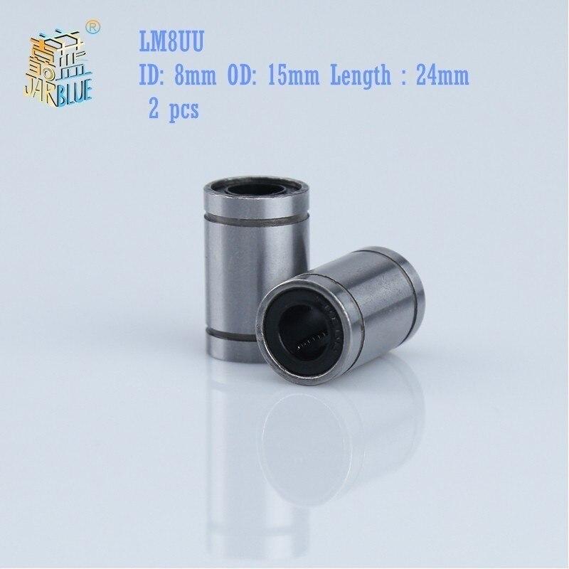 Kostenloser versand 2 teile/los LM8UU Linear Buchse 8mm linear kugellager Linear Lager 8mm 3d drucker teile LM8 cnc teile
