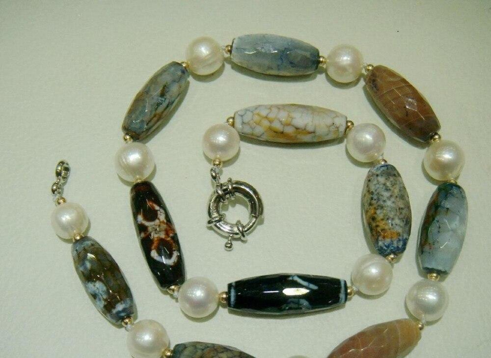 Venta caliente-Agate11x30mm huij 0033014 de agua dulce collar de perlas de 11mm de envío libre de calidad Superior
