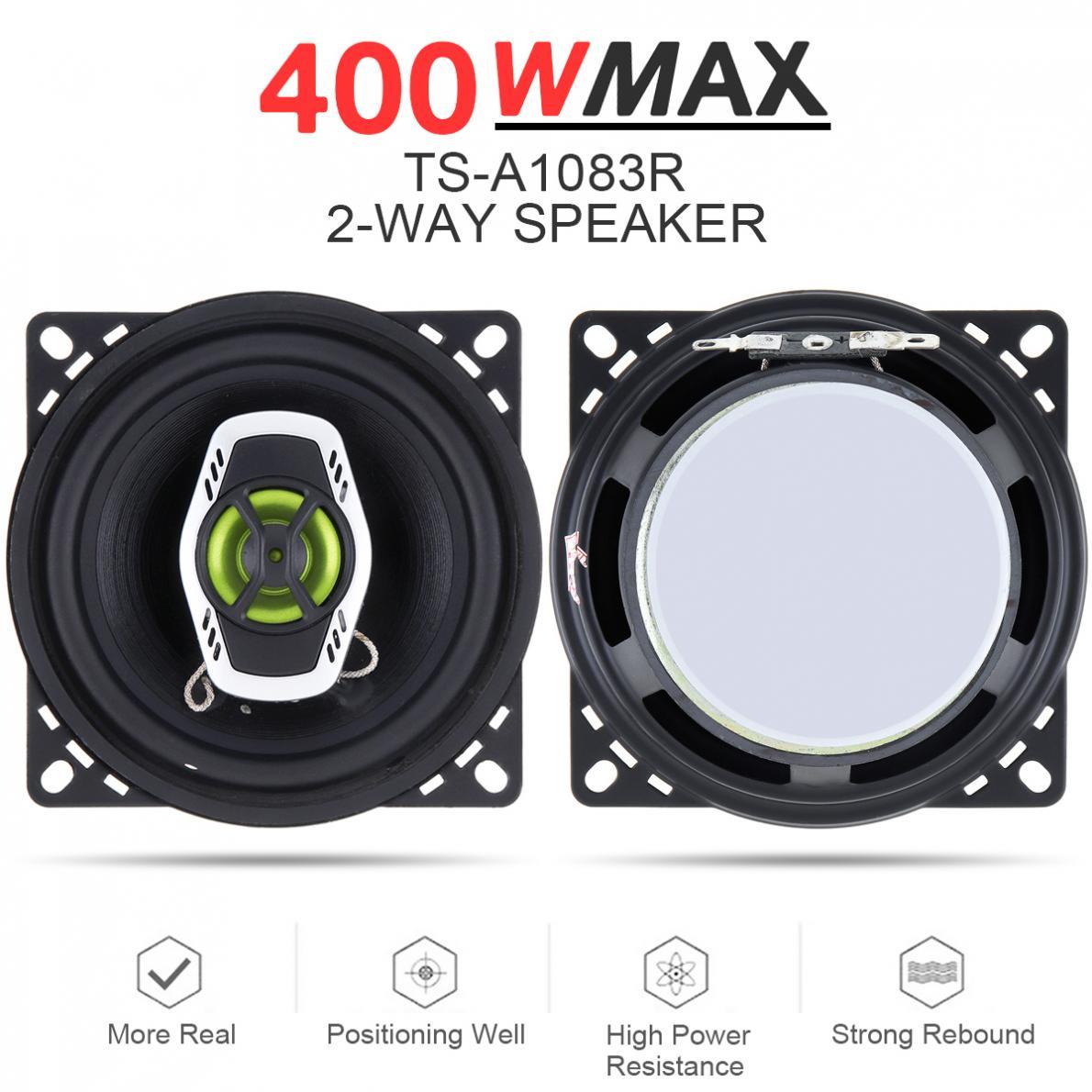 2 pces 4 Polegada 10cm 2 vias 400w carro coaxial auto áudio música estéreo gama completa freqüência alto falantes de alta fidelidade instalação não-destrutiva