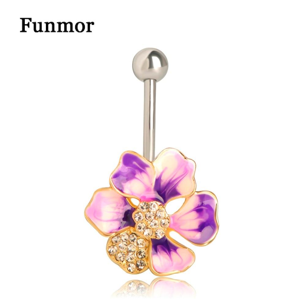 Кольцо для пупка Funmor, с эмалированными цветами, кольцо-пирсинг для пупка из нержавеющей стали 316L, летние аксессуары для тела для женщин и дев...