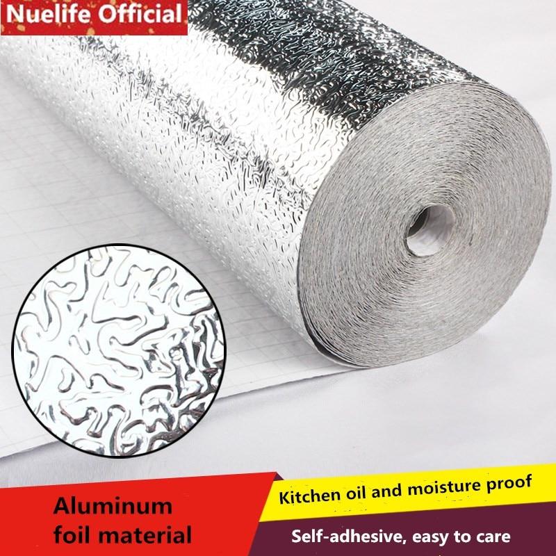 Selbst-klebe verdickung schrank feuchtigkeit-beweis aluminium folie papier küche aufkleber fliesen hohe temperatur herd zinn folie papier