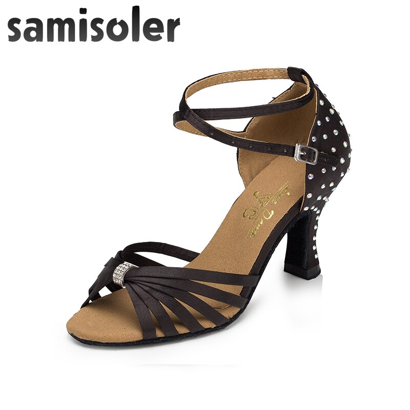 Samisoler, nueva prenda, colocación, cintas brillantes, moda de salón, zapatos de baile latino para mujeres, zapatos de competición