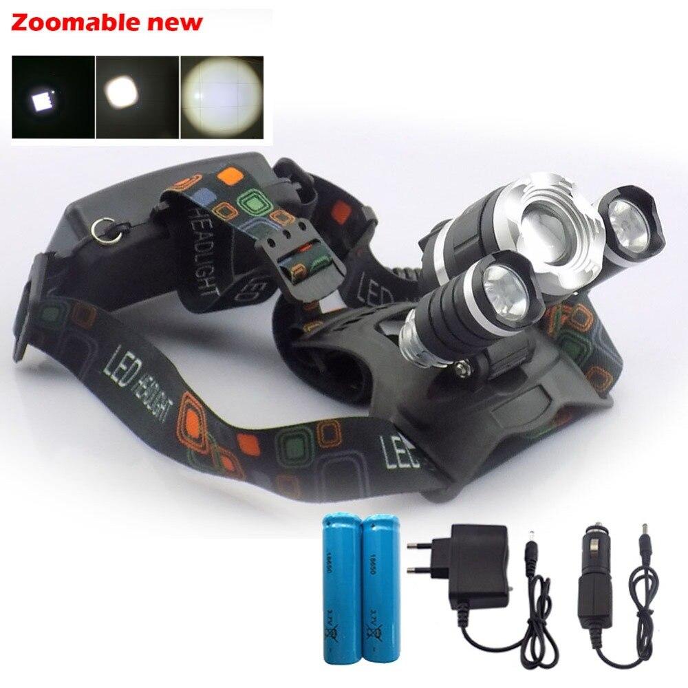 Super brillante T6 + R2 Led faro frontal 5000 lumen enfoque con zoom potente linterna de cabeza linterna 18650 batería