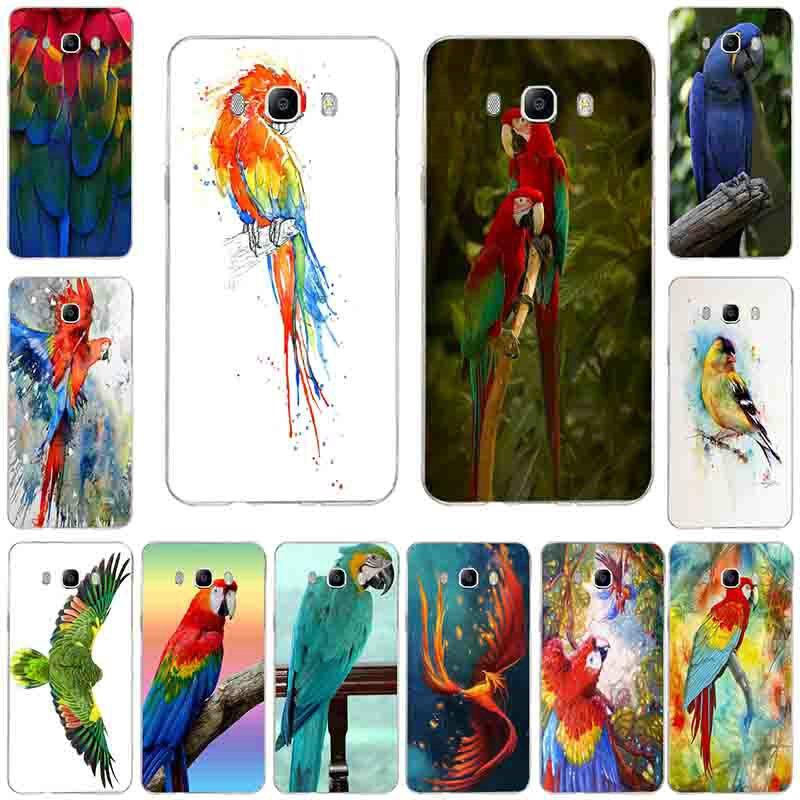 Macaw loro pájaro acuarela suave TPU silicona teléfono fundas para Samsung Galaxy A3 A5 A7 J2 J3 J4 J5 J6 j7 J8 2016 de 2017, 2018 Shell