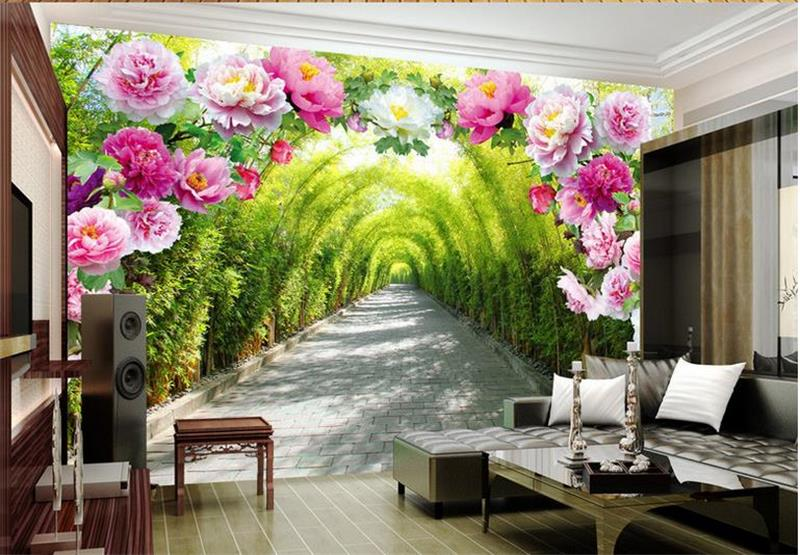 3d papel tapiz para habitación Mural personalizado foto 3d Puerta de flores paseo foto de pintura de 3d pared no tejida murales de papel pintado para paredes 3d