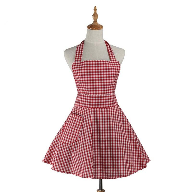 Delantal de cocina Retro para mujer, Gingham, camarera de cocina, salón de peluquería, delantal de trabajo de algodón, vestido Avental de Cozinha Divertido